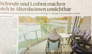 Anzeiger Limmattal: Schwule und Lesben machen sich in Altersheimen unsichtbar
